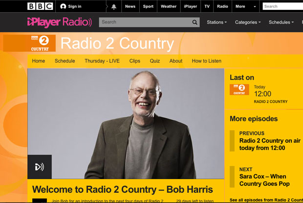 Bob Harris will launch BBC Radio 2 Country on Thursday 10th March