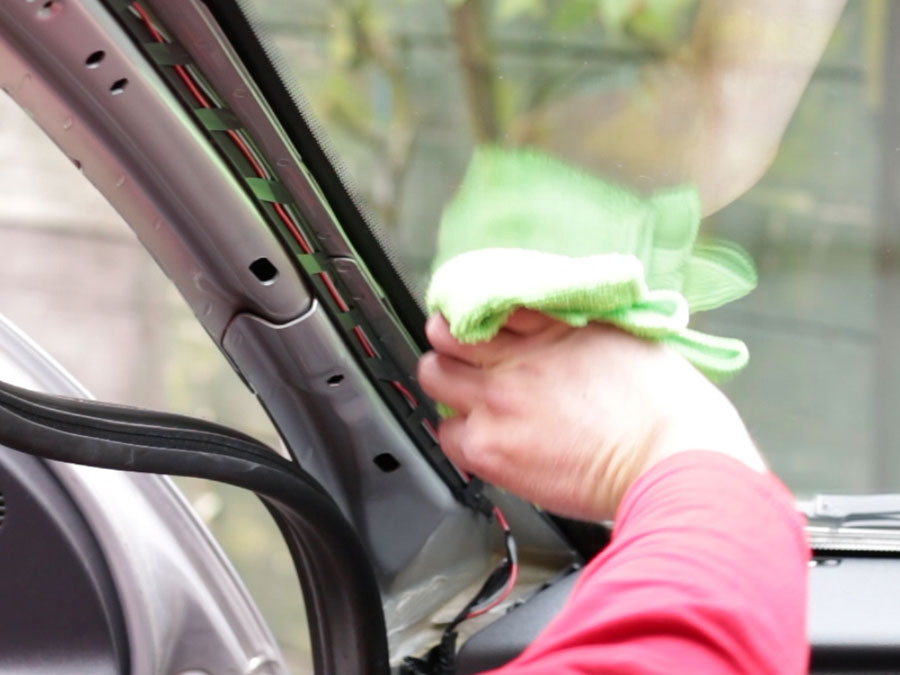 Clean the windscreen and metal surface