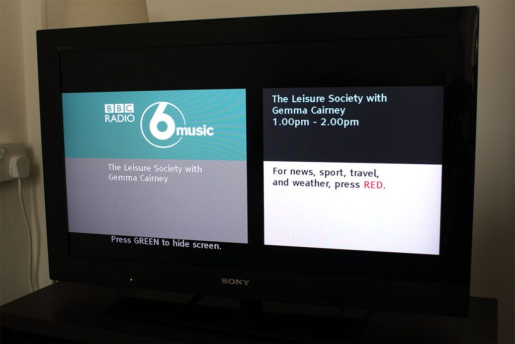Listening to BBC Radio 6Music on digital radio with Freesat