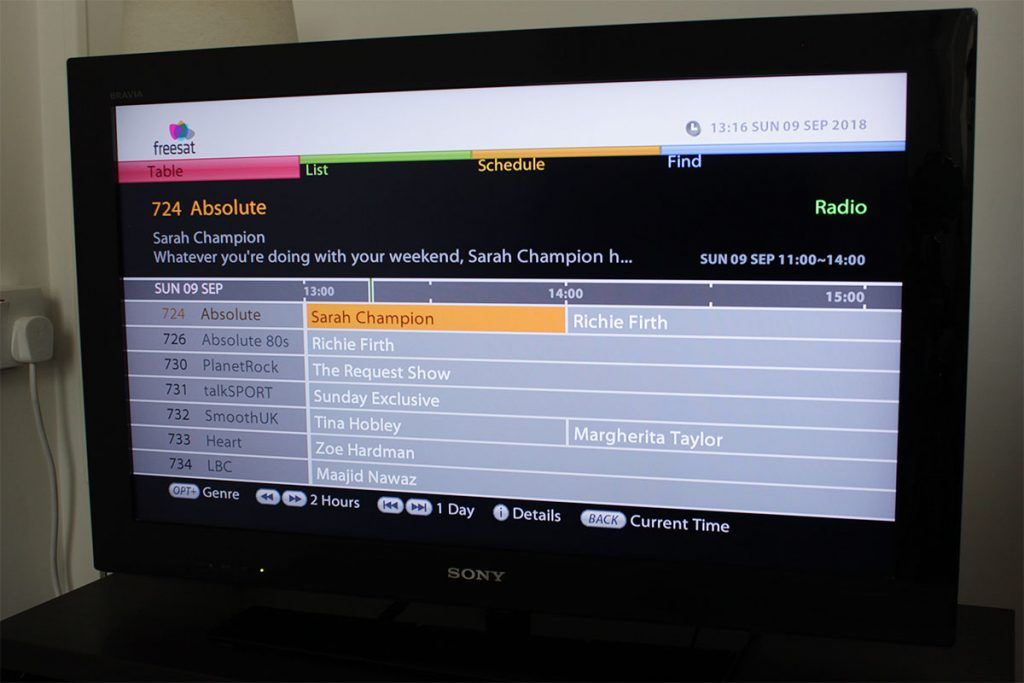 Radio stations can be browsed on Freesat's electronic programme guide