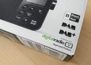 The Digital Radio Tick Mark, below the DAB logos, on a Sony radio