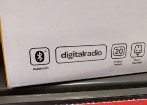 A 'digital radio' logo on a DAB product