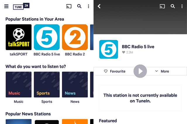 TuneIn on Android showing BBC radio stations
