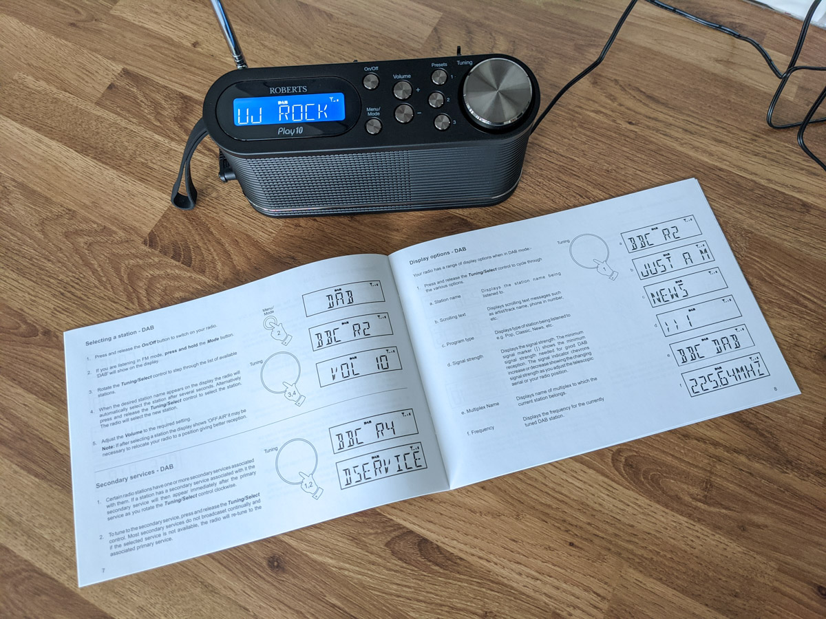 Roberts Play 10 and its instruction manual