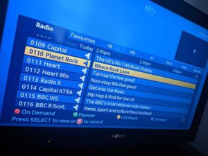 Information about a radio programme on the Sky EPG